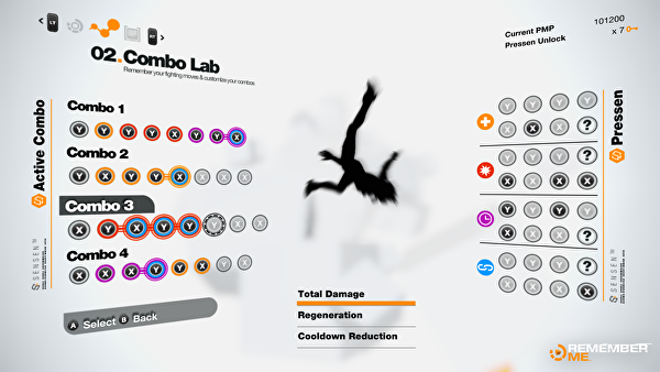 The Combo Lab. Combos on the left, available Pressens on the Right.
