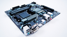 Our motherboard - the Gigabyte GA-78LMT-USB3. It's a budget board available for under £40, but it's micro-ATX so good for small cases, has four RAM slots and features USB 3.0 ports.