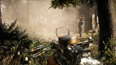 PS4 users are treated to per-object motion blur - as shown on this crossbow in full sway - in tandem with a full-screen implementation for camera whip-pans.