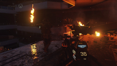 Black crush is an issue in this showcase of Advanced Warfare. It's a persistent issue with the Xbox One's full colour range, cutting out detail on the lower end of the gamma scale.