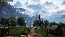 Far Cry 4 blends a striking skybox with an explorable game world. It's presented at full 1080p on PS4, backed up by HRAA: a mix of temporal and morphological anti-aliasing methods.