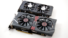 We have two R9 380s on test - the Asus Strix variant with its DirectCU2 cooler below, and the XFX Double Dissipation variant above.