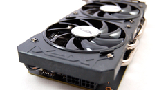 The XFX model utilises a dual six-pin power input, located at the end of the card.
