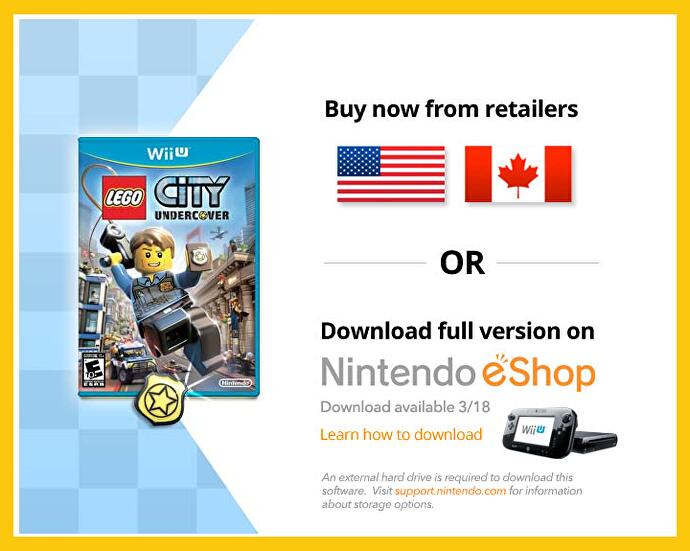 Wii U external hard drive required to download Lego City Undercover