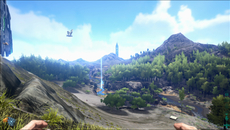 Wide-ranging vistas and long draw distances are present in Ark, but these don't contain the level of detail seen on other current-gen open world titles. Object density is significantly reduced on distant scenery, with just the key details rendered.