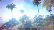 High dynamic range lighting and bloom are heavily deployed in Ark during certain conditions. In this shot, these effects help to enhance the intensity of the midday sun, although the level of bloom is rather overwhelming at times.