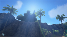Lights shafts form a key part of the lighting model in Ark. Here we see the effect cast by two different sources: the lighter coloured beams are produced by the sun, while the green streams of light originate from the strange alien tower.
