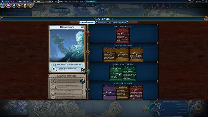 Civilization 6 Governments and Policies list - every Policy