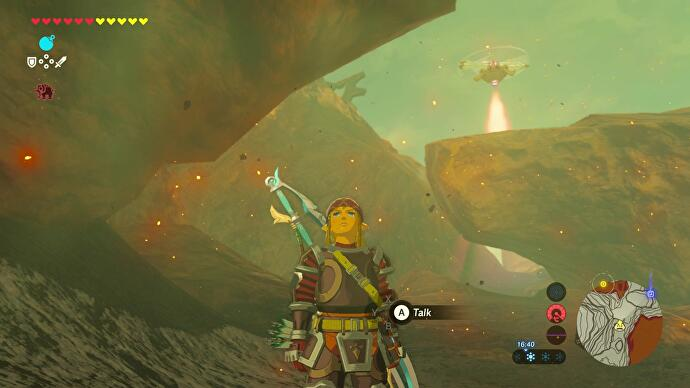 Zelda Breath Of The Wild How To Avoid Sentries And Get To Each - on the next corner are boulders blocking the path onward and a stationary drone climb up the cliff above it where there are boulders you can push into