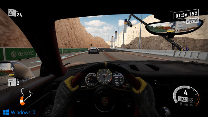 How does Forza 7 improve on Xbox One X over base hardware