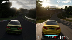 GT Sport features real-time shadows that correspond to sun position leading to situations like this. We have a real-time car shadow on the Forza side with baked world shadows. These are mostly obscured, but don't fully line up with the sun.