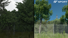 Forza handles trees by placing two texture planes in a cross config designed to appear suitably stable during racing but it lacks light interaction. GT Sport uses a selection of flat billboards which always face the camera but can accept light and shadow.