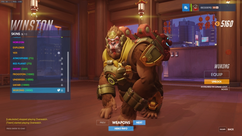 Winston Christmas Skin.Year Of The Rooster Skins Overwatch Metabomb