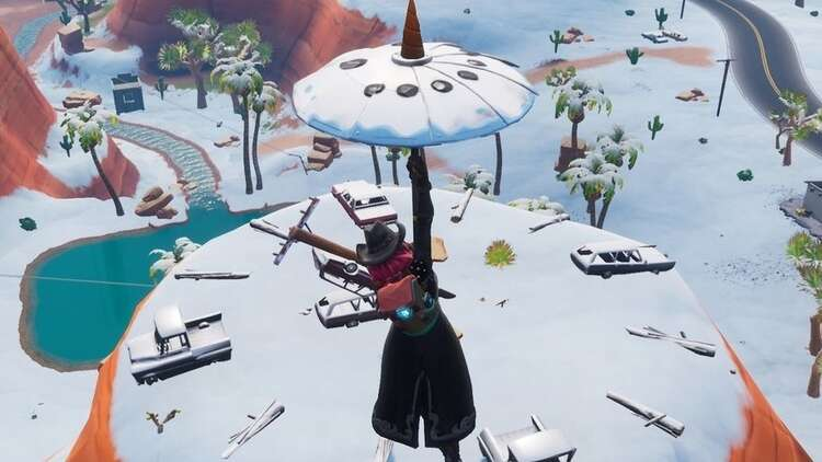 Dance on a sundial, cup of coffee, and dog head in Fortnite