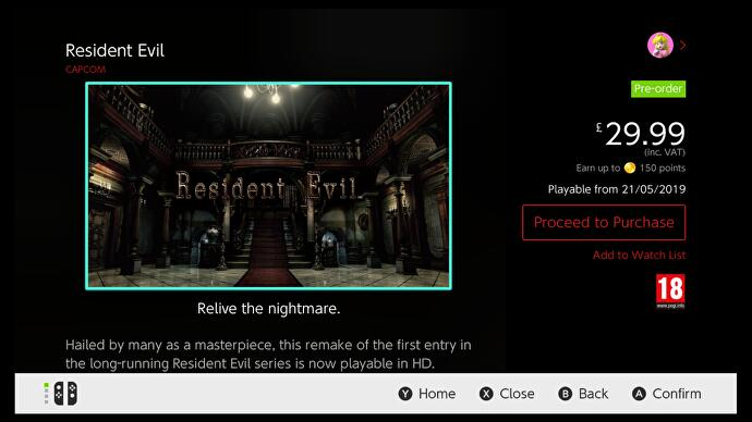 Resident Evil HD, 0 and 4 on Nintendo Switch cost £30 each