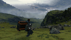 Death Stranding focuses on creating a huge sense of scale and its mountains tie directly into the movement and physics systems. Motion blur helps improve overall fluidity as you run down hills like this.
