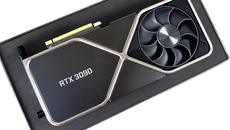 Opening the RTX 3090 packaging, this is what you see - a gigantic graphics card.