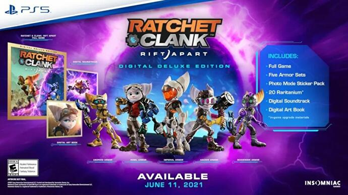 The contents of the Ratchet and Clank Rift Apart Digital Deluxe editon