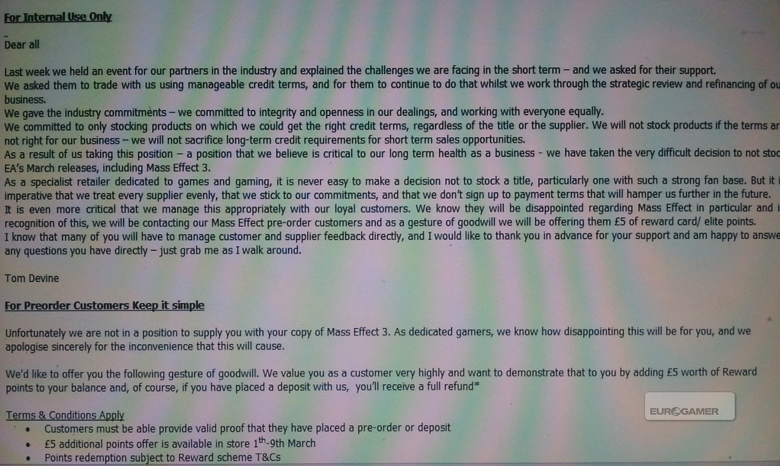 'Revealed: GAME's memo to staff on Mass Effect 3 cancellation' Screenshot 3