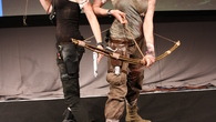 These cosplayers were ushered in to the Tomb Raider developer presentation. Did Square Enix hire them? They were being given the official treatment.