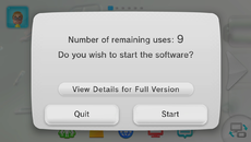 Every time you boot up a demo, a counter informs you of the number of uses remaining.