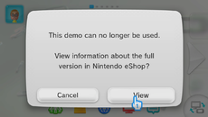 Once all sessions are used up, you're linked to the game's eShop product listing.