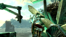 Lifecycle powers are used to reverse time and heal environments to specific points. Lighting from the resulting green aura plays naturally over Kratos' body as he climbs through the broken crane, blending smoothly with the other light sources.