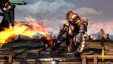 Alpha buffers are used liberally this time, with black smoke, water splashes, and lavish fire trails from Kratos' blades weighing in. The intensity of the fire effects rises with the combo counts on the right, leaving the whole screen erupting in flame.
