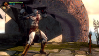 Incidental animations, such as the sneer on Kratos' face as he lands an attack, can be entirely easy to miss unless you manage to get the camera up-close. The build-up of tiny cuts across his knees over the course of battle is also a great, subtle touch.