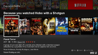Netflix relies on categories and recommendations to deliver its content, with very similar menus on all platforms. These are displayed on the main screen, complete with box art and brief synopsis, including resolution and sound formats.