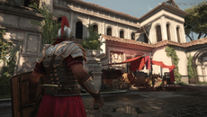 This scene demonstrates the sum of Ryse's parts with a clean, aliasing free image, realistic lighting and materials, and the scattering of light from the draped red cloth.