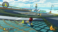 This detailed scene is marred a touch by the lack of AA while the metal textures exhibit noticeable blurring due to poor texture filtering. At least we can see a large shadow cast over Mario by an airplane that was passes overhead.