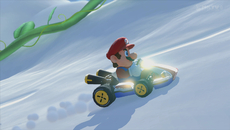 Here we observe the way light interacts with materials. Notice the sunlight glinting off Mario's kart. Also note the clean shadow, soft particles, and tyre tracks.