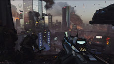 Advanced Warfare's E3 demo takes no time to deviate from the series' corridor-funneled levels, but the pyrotechnics in the background give a sense of the greater conflict.