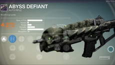 Abyss Defiant legendary auto rifle.