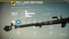 No Land Beyond exotic sniper rifle.