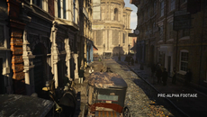 Vehicle battles, heavy on physics, are also shown in the demo. Also note the physically-based lighting system accurately interacting with the brickwork and cobblestone materials, plus the excellent use of light and shadow.
