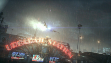Gotham City's heavy rain replaces Arkham City's light now - now with proper splashes on hitting the ground, and each shaded by nearby lights.