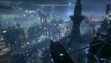 Atmospheric effects are added for the finale of the Arkham saga, such as rising plumes of smoke, plus a ceaseless rain that gives Gotham City its iconic image.