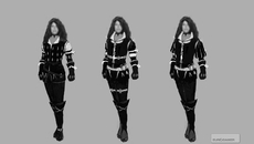 The first concepts of Yennefer. The face is blurred because again, it's a placeholder of someone famous.