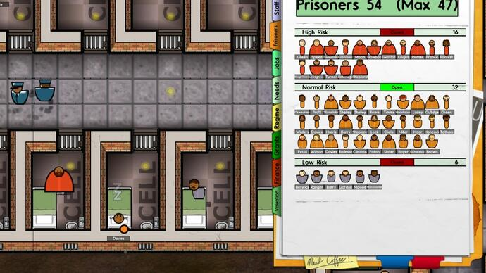 Prison Architect Alpha 6 update sorts the most dangerous from the most in danger
