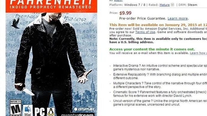 Fahrenheit: Indigo Prophecy Remastered is coming to Steam
