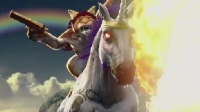 Trials Fusion expansion stars a cat riding a fire-breathing unicorn