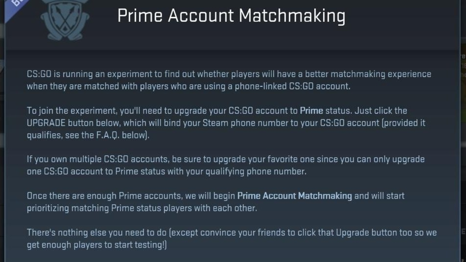 how to use prime matchmaking csgo