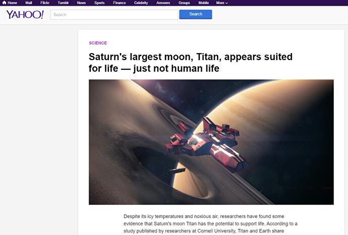 Yahoo News uses Destiny screenshot to illustrate story on