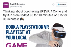 1864085 GAME charges people to try PlayStation VR in its shops