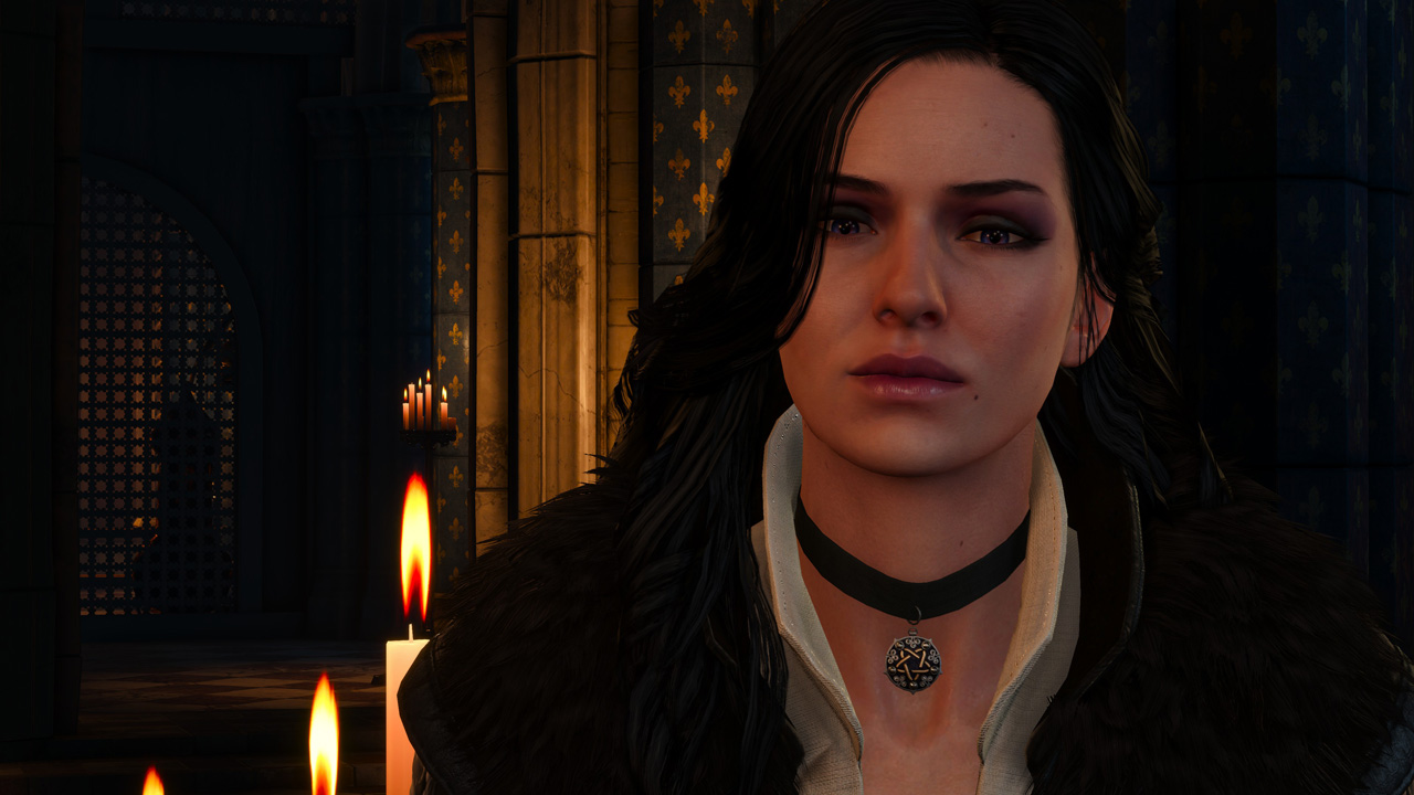 Yennefer and Geralt meet up in Vizima, although it's strictly business