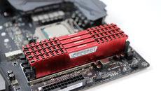 We used four sticks of Corsair Vengeance LPX DDR4 here, rated for 3000MHz.