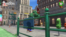 A checkerboard pattern is used to highlight Mario when passing in front of opaque objects while a dynamic depth of field is introduced along the borders of the image when the camera focuses on near field objects.