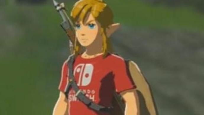 Here's how Link looks in his Zelda expansion pass-exclusive Nintendo Switch T-shirt